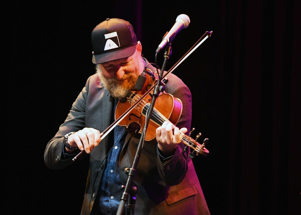 <p>Mikael Marin, a member of the Swedish music group Väsen, plays the viola at the Lotus kick-off concert Thursday evening in the Buskirk-Chumley Theater. This year is the group's ninth time playing at Lotus.</p>