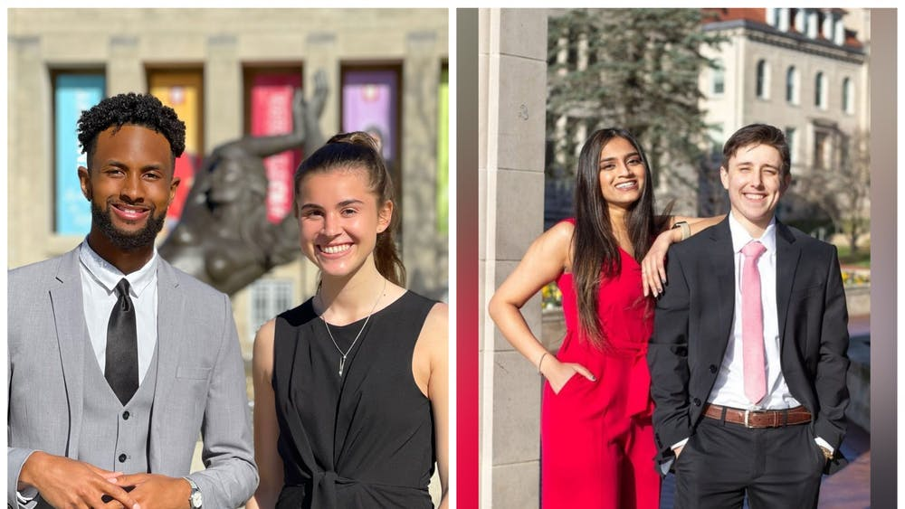 Juniors Ky Freeman and Madeline Dederichs, left, and Juniors Shibani Mody and Carrick Moon, right, pose for headshots. The IU Student Government Election Commission deducted two points from Legacy, Mody and Moon's ticket, and four points from Elevate, Freeman and Dederichs' ticket.