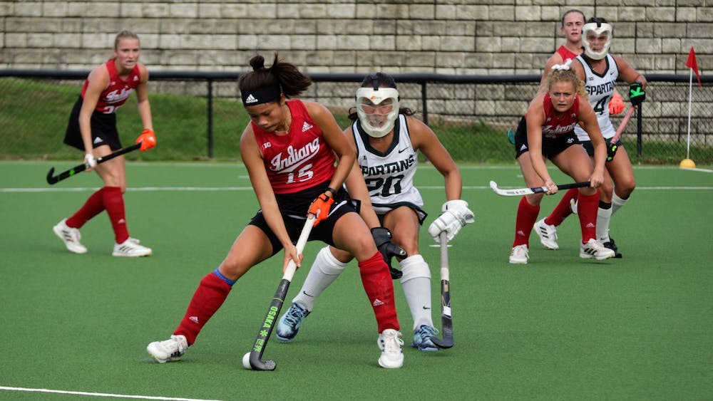 Freshman defender Yip Van Wonderen with the ball during a match against Michigan State University on Oct. 15, 2021, at the IU Field Hockey Complex. Indiana had seven different goal scorers in its 7-1 win against Saint Louis.