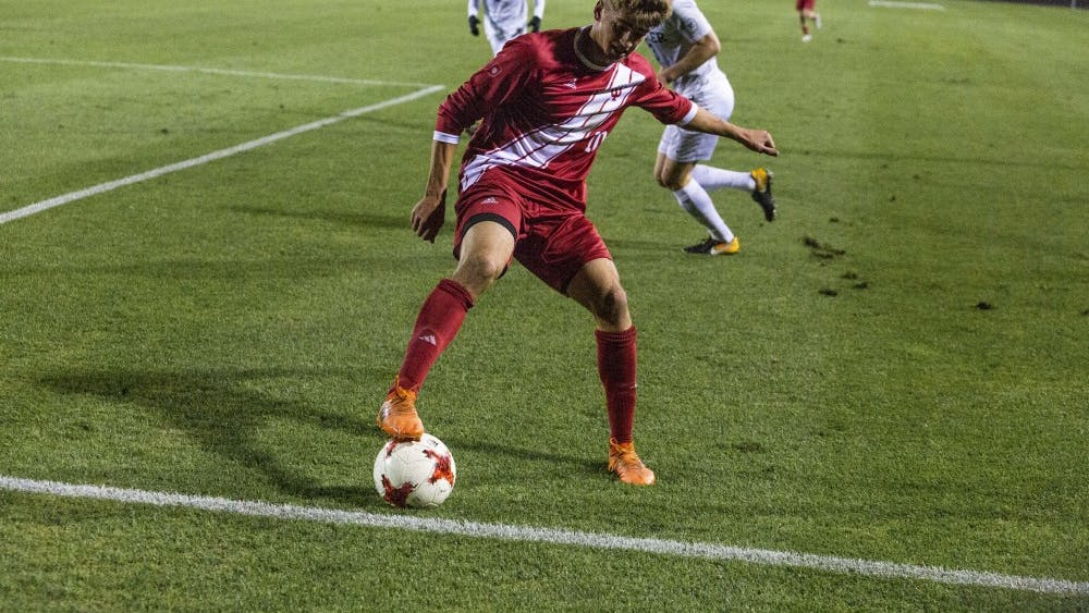 Sophomore midfielder Justin Rennicks dribbles to keep the ball in play near Butler's goal Oct. 16 at Bill Armstrong Stadium. Rennicks and fellow sophomore midfielder Griffin Dorsey were named to the United States U-20 National Team on Tuesday.