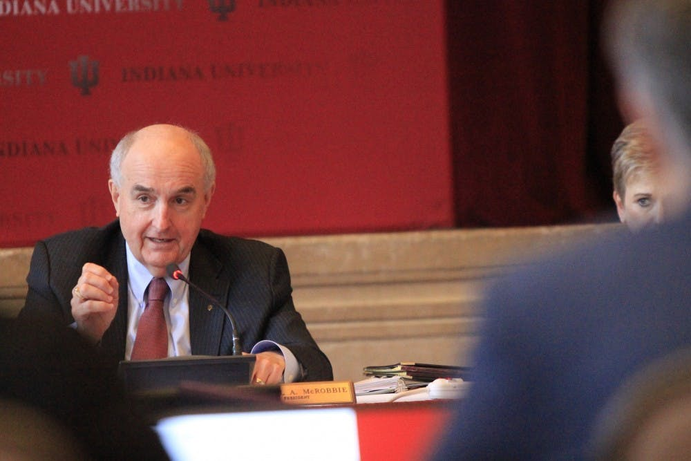 <p>IU President Michael McRobbie speaks at the Board of Trustees meeting April 5, 2018, in Alumni Hall. IU plans to ask the Board of Trustees for permission to borrow $1 billion at its board meeting Friday in case of a budget deficit due to the COVID-19 pandemic.</p>