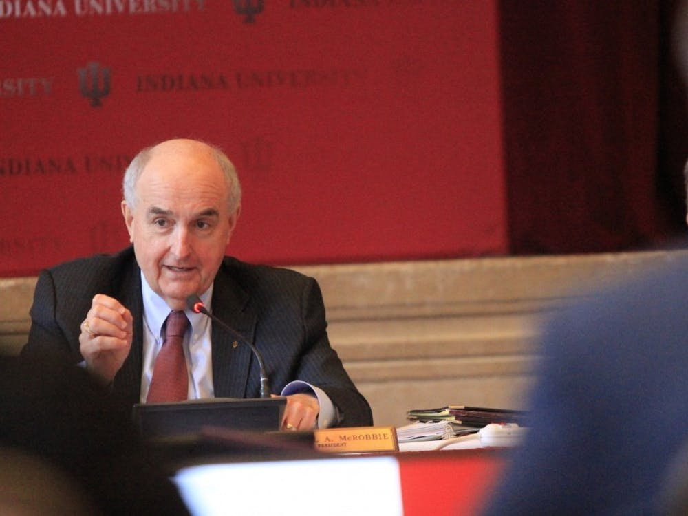 IU President Michael McRobbie speaks at the Board of Trustees meeting April 5, 2018, in Alumni Hall. IU plans to ask the Board of Trustees for permission to borrow $1 billion at its board meeting Friday in case of a budget deficit due to the COVID-19 pandemic.