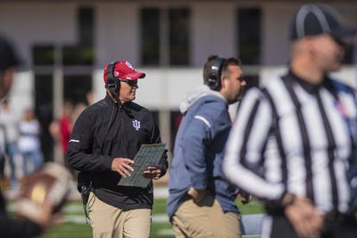 IU football Coach Tom Allen walks down the sideline during IU's homecoming loss to Iowa on Oct. 13 at Memorial Stadium. IU plays Purdue this Saturday at Memorial Stadium.