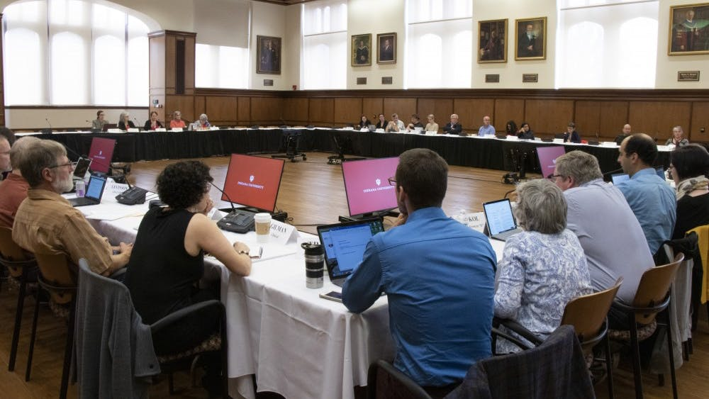 IU Bloomington Faculty Council members meet Oct. 15 in Presidents Hall. The council debated changes regarding the College of Arts and Sciences electoral faculty subunits.
