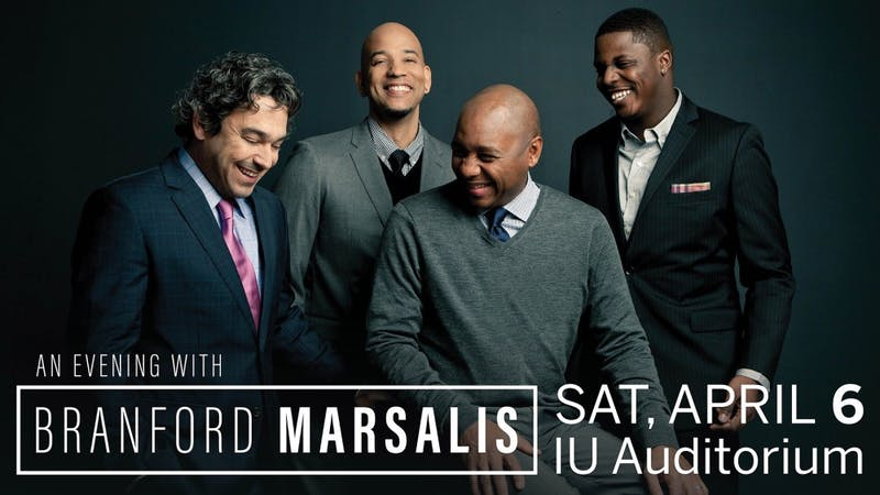 """The Branford Marsalis Quartet will perform in """"An Evening with Branford Marsalis"""" at 8 p.m. March 6 at the IU Auditorium."""