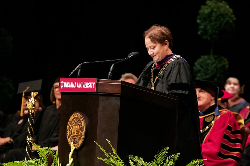 <p>IU Provost Lauren Robel delivers a speech Sept. 27 during the Bicentennial Ceremony. This poem was written by Robel and covers different parts of IU&#x27;s history.  </p>