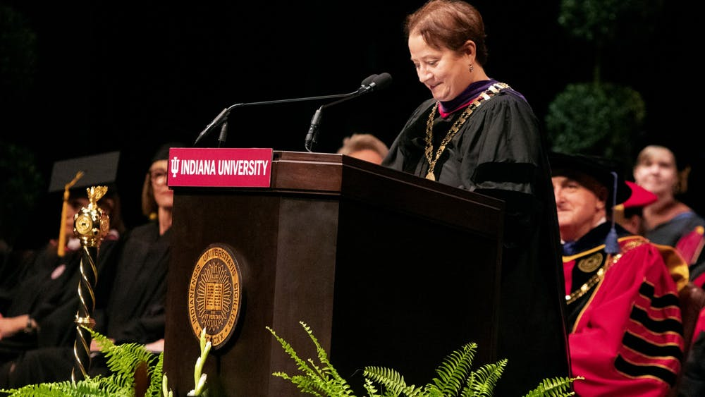 IU Provost Lauren Robel delivers a speech Sept. 27 during the Bicentennial Ceremony. This poem was written by Robel and covers different parts of IU's history.