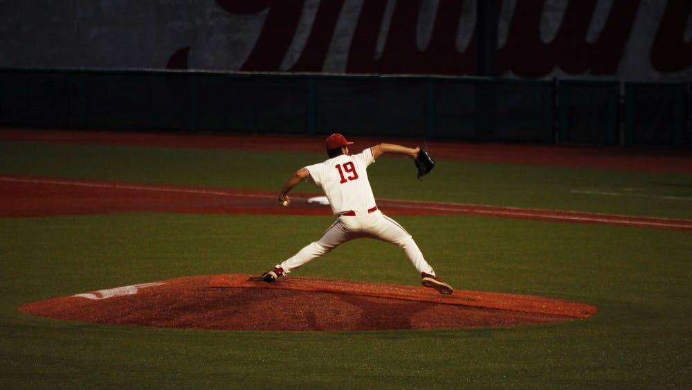 Sophomore Tommy Sommer pitches April 10 at Bart Kaufman Field. Sommer pitched six strikeouts against Purdue.