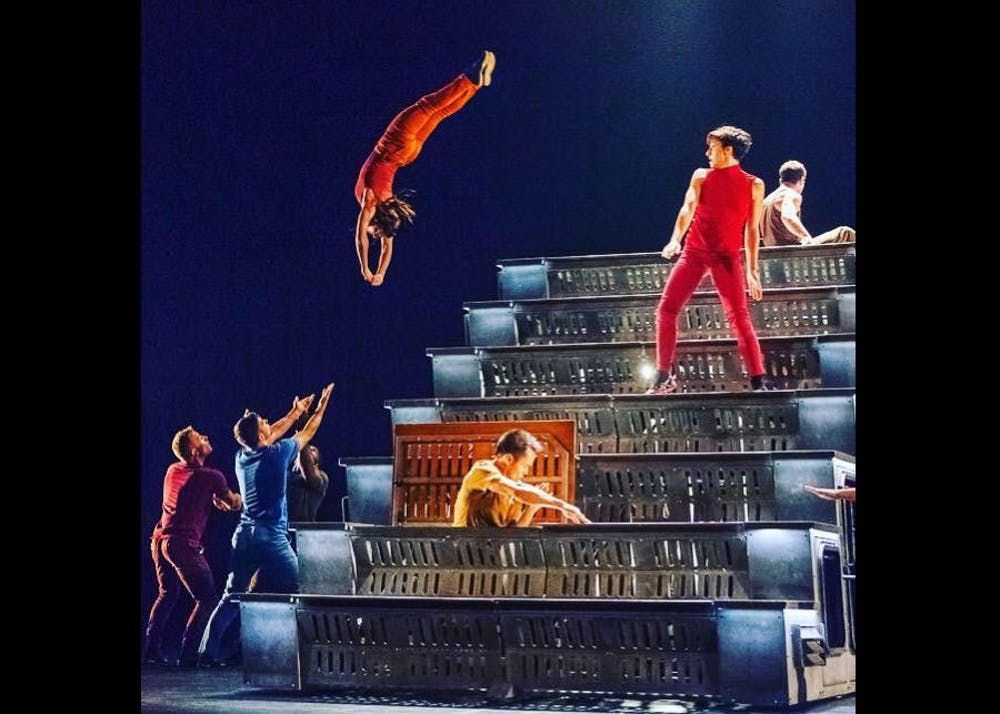 <p>The dance group DIAVOLO performs an acrobatic dance around giant set pieces.</p>