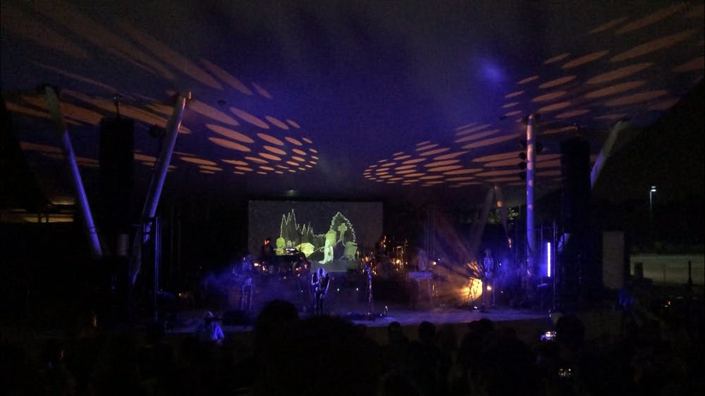 <p>Phoebe Bridgers performs &quot;Halloween&quot; at Chesterfield Amphitheater on Sept. 3, 2021, near St. Louis. The show lasted a little over an hour.</p>