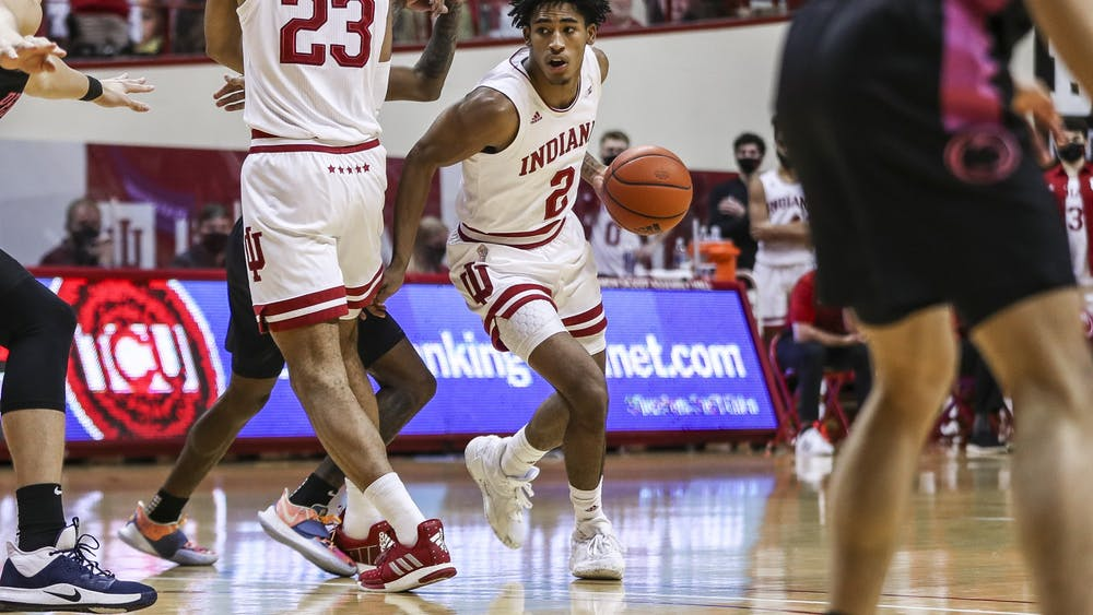 Sophomore guard Armaan Franklin dribbles into the paint Dec. 30 at Simon Skjodt Assembly Hall. Franklin scored 16 points against Penn State.