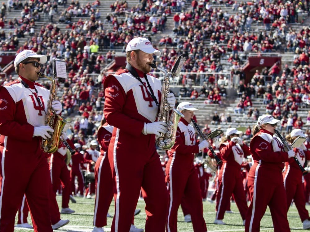 The Marching Hundred band members play their saxophones Oct. 12, 2019, in Memorial Stadium. The Marching Hundred hasn't performed at a football game since the Gator Bowl in January 2020.
