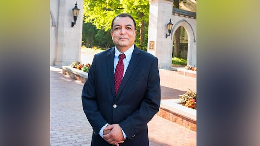 Luddy School of Informatics, Computing, and Engineering dean Raj Acharya poses for a headshot. Acharya will step down mid-March to participate in an artificial intelligence research initiative at IU.