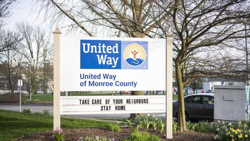 A sign sits outside United Way on March 30 on South College Avenue. United Way of Monroe County received a COVID-19 relief grant from Indiana United Ways worth $615,960.