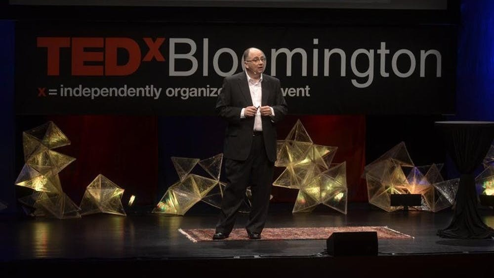 """Telecommunications professor Edward Castronova speaks at the first TEDxBloomington about technology and fantasy on May 15, 2011, at the Buskirk-Chumley Theater. IU will host the virtual TEDx conference """"When A Tree Falls"""" on March 27."""