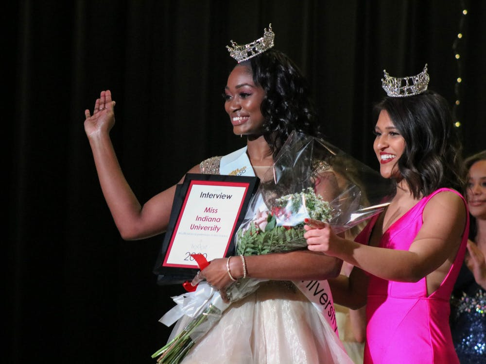 Senior Alexandria Ford is crowned Miss Indiana University at the Miss Indiana University Scholarship Competition on Feb. 16 in Wilkie Auditorium. Along with a scholarship and prize package, Ford will go on to compete for the title of Miss Indiana this summer.