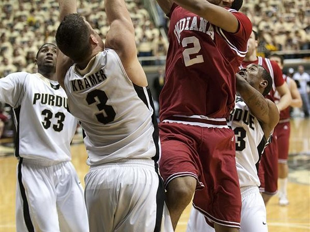Freshman forward Christian Watford goes up for a shot against Purdue on Wednesday in West Lafayette, Ind.  The Hoosiers lost 74-55 to the Boilermakers.