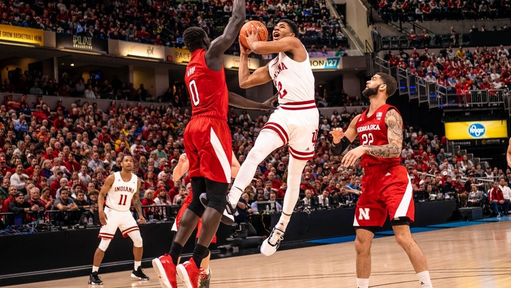 Then-freshman guard Armaan Franklin scores against Nebraska in the first round of the Big Ten Tournament on March 11 at Bankers Life Fieldhouse in Indianapolis.