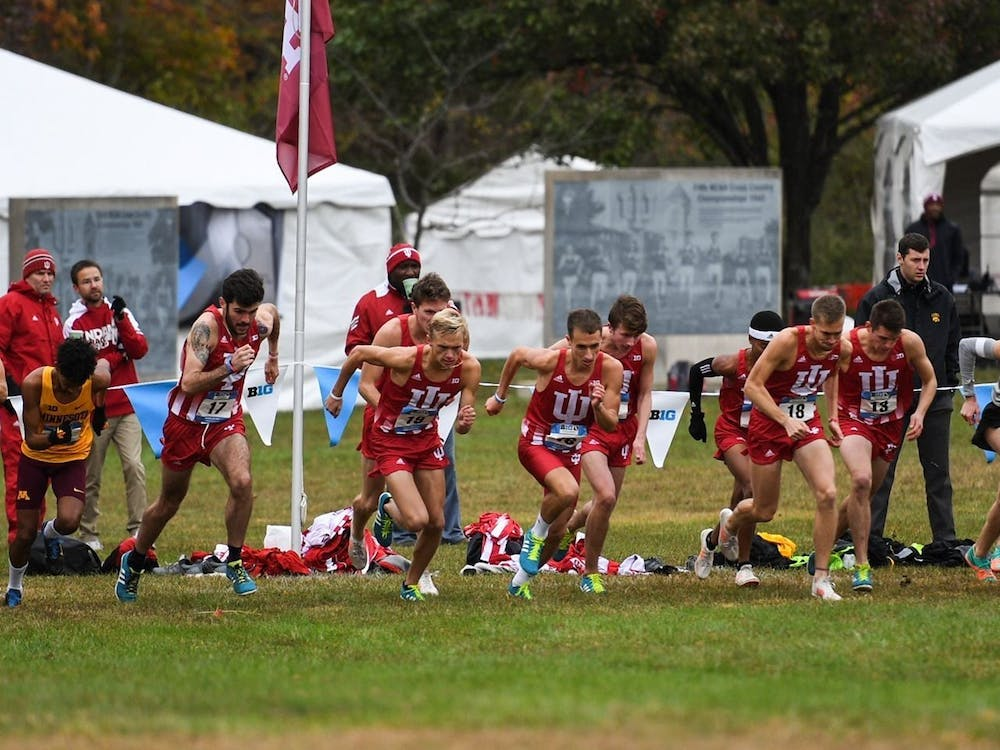 Indiana men's cross country runners start the race at the Big Ten Cross Country Championships on Oct. 28, 2018, in Lincoln, Nebraska. Indiana cross country placed 26th in the women's 6K race and 21st in the men's 8K race at the Nuttycombe Invitational.