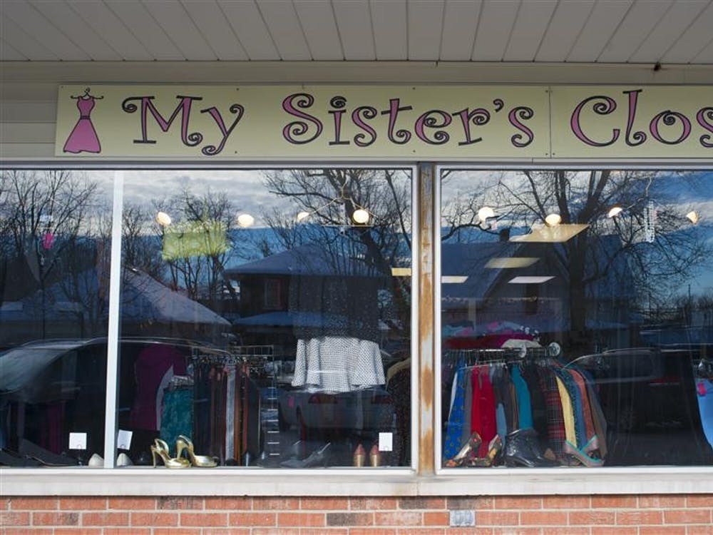 Clothing is seen through the window of My Sister's Closet in 2013. My Sister's Closet is a nonprofit organization established to provide free work force attire and Success Institute training to low-income and at-risk women pursuing employment.