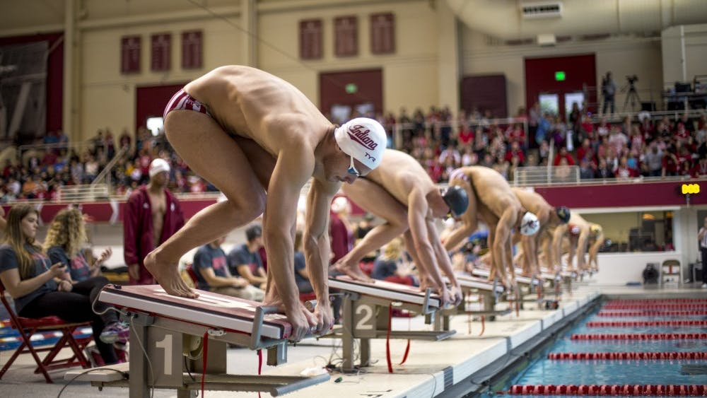 Then-freshman, now sophomore Bruno Blaskovic prepares to dive into the pool for the men's 100-meter Freestyle Finals on Jan. 20, 2018. The IU men's swim and dive team participated in the NCAA Championship finals March 27 in Austin, Texas.
