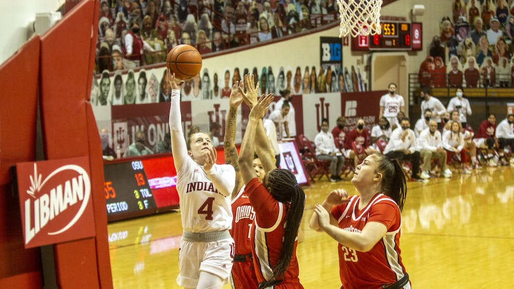 Senior guard Nicole Cardaño-Hillary shoots a layup against Ohio State on Jan. 28 in Simon Skjodt Assembly Hall. The Hoosiers play Iowa on Sunday at Carver-Hawkeye Arena in Iowa City, Iowa.