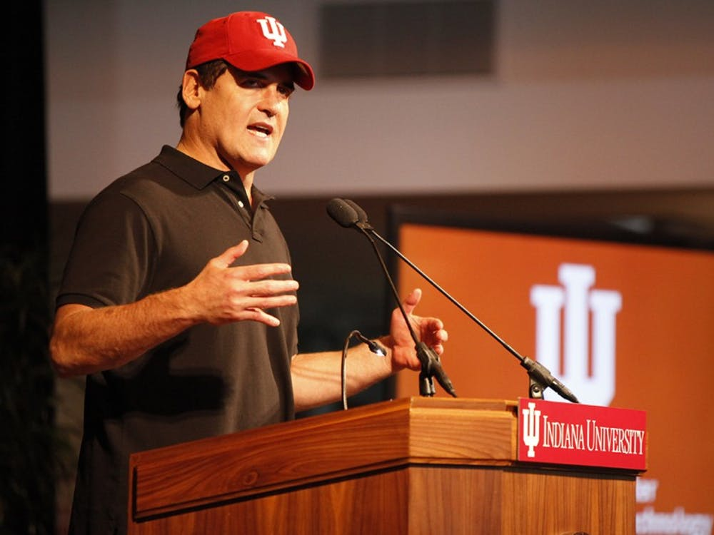 Mark Cuban speaks during the announcement of the Mark Cuban Center for Sports Media and Technology Friday in the Henke Hall of Champions.
