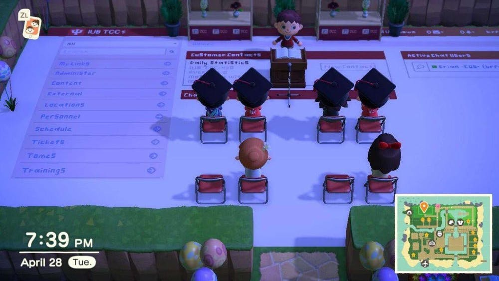 """IU graduate Brian Funk spent a week designing the layout of his virtual island for a commencement ceremony in """"Animal Crossing: New Horizons"""" for his friends. The ceremony took place Tuesday, with around 15 attendees."""