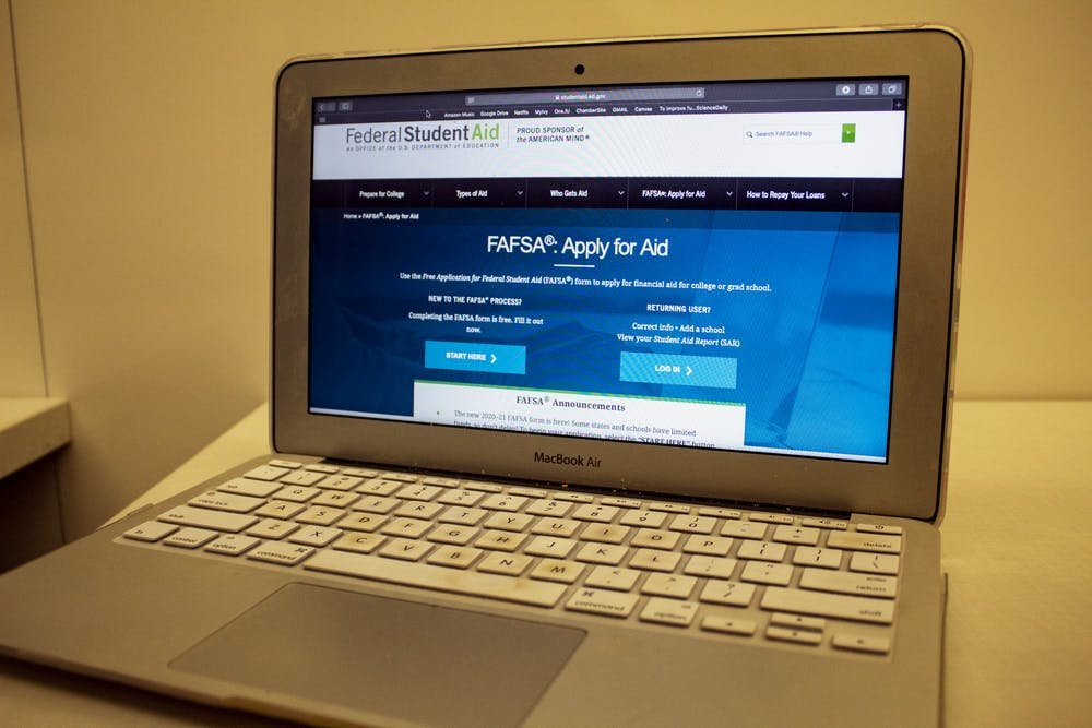 <p>A computer shows the FAFSA website Oct. 30 in the Global and International Studies Building. Parents and students can get free help filling out the FAFSA form from 2-4 pm Nov. 3 at Ivy Tech Community College in Bloomington as a part of College Goal Sunday.</p>