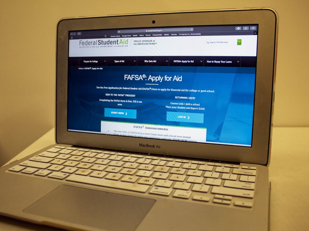 A computer shows the FAFSA website Oct. 30 in the Global and International Studies Building. Parents and students can get free help filling out the FAFSA form from 2-4 pm Nov. 3 at Ivy Tech Community College in Bloomington as a part of College Goal Sunday.