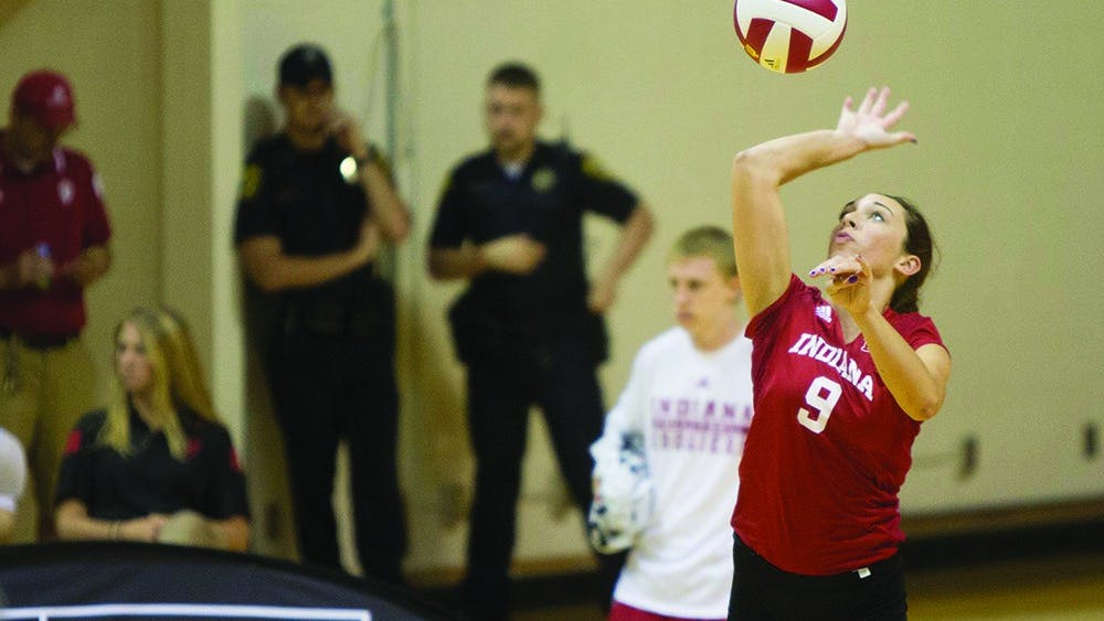 Sophomore Megan Tallman serves during the Hoosier's game vs. SEMO on Sept. 6 at Assembly Hall.