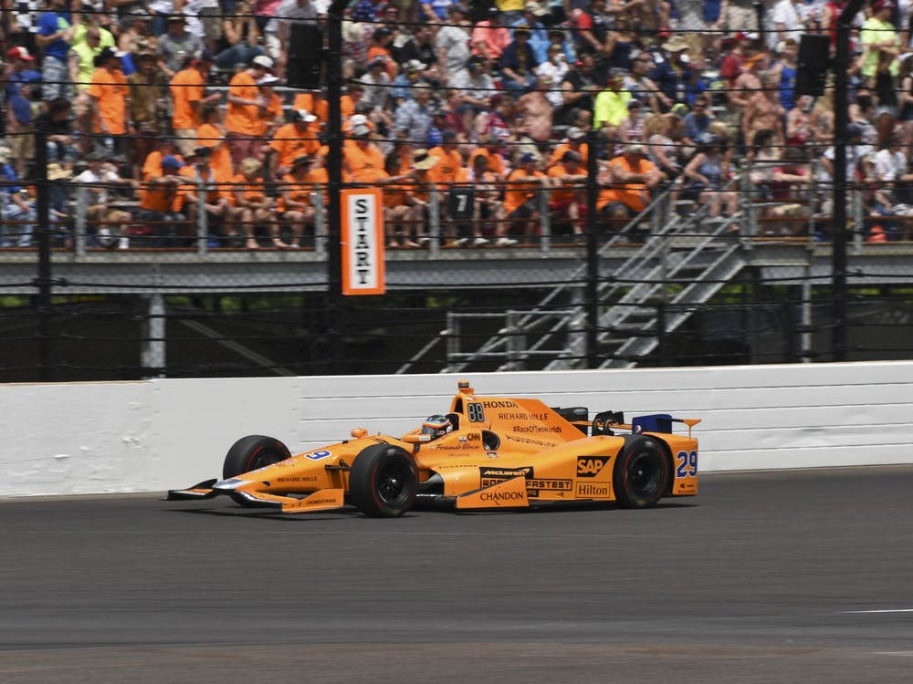Fernando Alonso leads the pack during the 2017 Indianapolis 500. The 2020 Indianapolis 500 was moved Thursday to Aug. 23 due to the coronavirus pandemic.