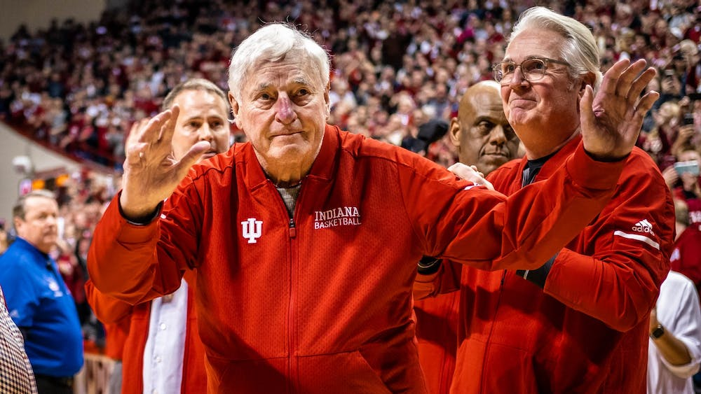 Former IU men's basketball coach Bob Knight waves at fans Feb. 8, 2020. Knight visited Simon Skjodt Assembly Hall during halftime of the IU versus Purdue game last year.
