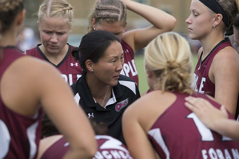 IU Coach Amanda Janney Misselhorn talks to her team during a Sept. 21, 2014, game against Drexel, when she was still head coach at Temple. Janney Misselhorn stepped down from her position at IU on Monday, according to an IU Athletics release.
