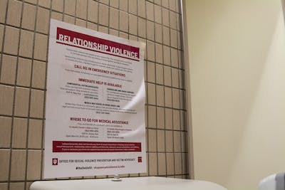 """It's On Us"" flyers are posted in many of the bathrooms on IU's campus. Half of IU-Bloomington students were selected last spring to participate in the 2019 Campus Climate Survey, and about 3,000 of them completed the survey."