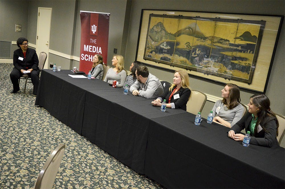 Current Media students listen as IU Journalism Alumni tell their life after college stories during the Media Career Day event Friday morning in the IMU's State Room East. Alumni discussed financial issues, job offers, relocation and many other pros and cons recent grads may face upon graduation.