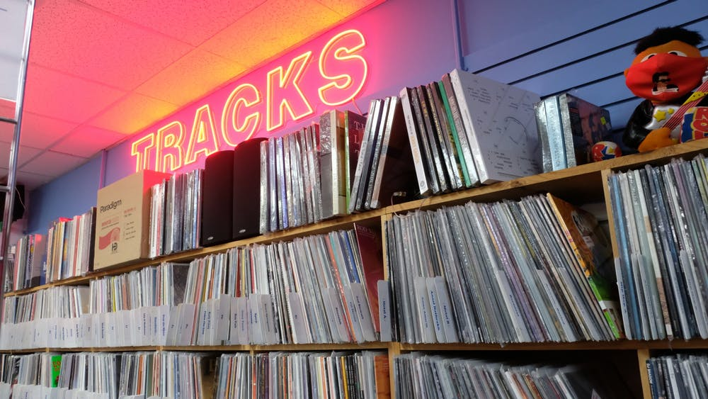 Shelves are lined with vinyl records on Jan. 19 at Tracks located on Kirkwood Avenue. Vinyls sales have increased during the recent months for Tracks.