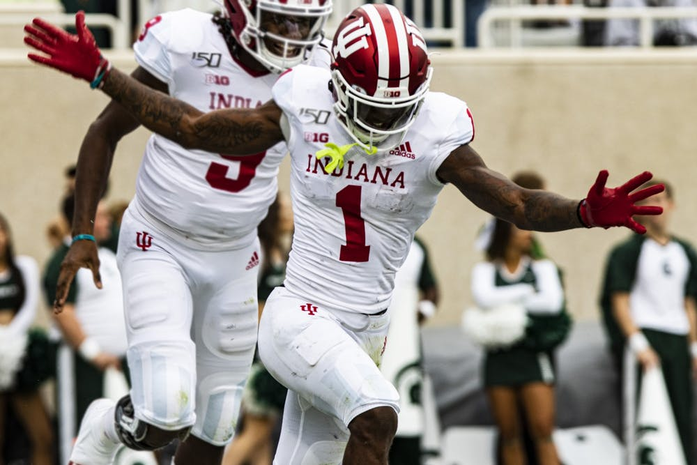 <p>Then-junior wide receiver Whop Philyor celebrates Sept. 28, 2019, in Spartan Stadium. Philyor was named IU's Most Outstanding Offensive Player of the Year last season.</p>