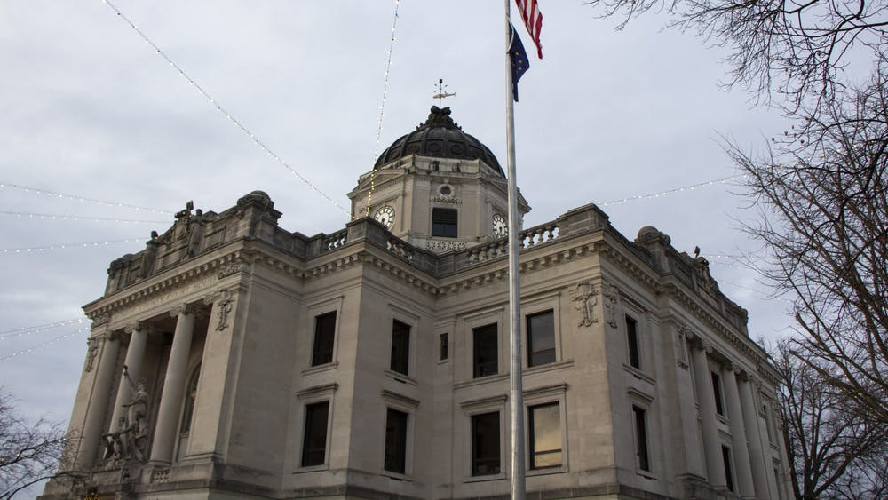 The Monroe County Courthouse stands at 100 W Kirkwood Avenue. County Commissioner Lee Jones appeared to be mocking County Clerk Nicole Browne on camera in a commissioner meeting Oct. 18, 2021.