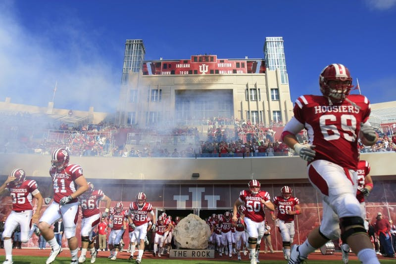 The Hoosier football team takes the field before the start of the homecoming game Sept. 17, 2010, at the Memorial Stadium. The Hoosiers beat Arkansas State 36-34.