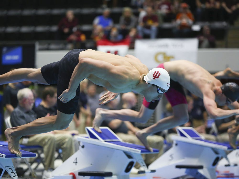 Then-junior Blake Pieroni competes in the 200 yard freestyle during the 2017 Swimming and Diving Championships. Pieroni won a gold medal in the 400-meter freestyle relay for Team USA on Sunday.