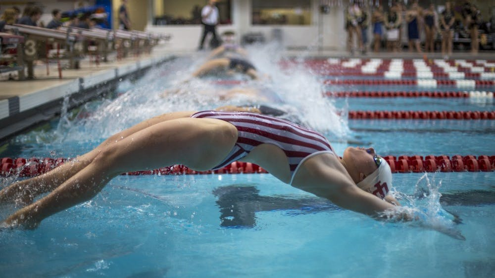 Freshman Camryn Forbes plunges into the pool for the Women's 200m Backstroke Finals on January 20. IU competed in the Big Ten Championships last week in Columbus, Ohio.