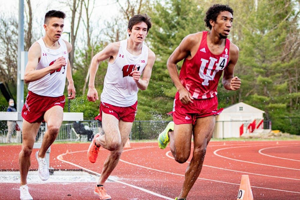 <p>Sophomore distance-runner Keelan Grant runs the 3000-meter steeplechase April 16 in Bloomington. Three Hoosiers were crowned individual champions.</p>