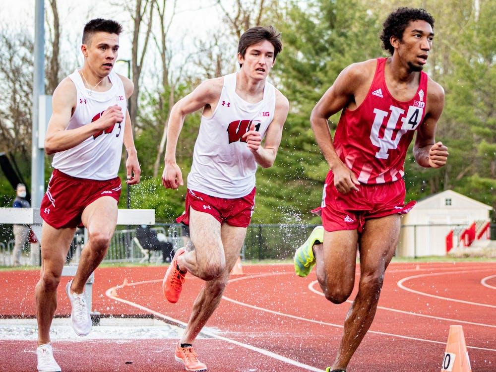 Sophomore distance-runner Keelan Grant runs the 3000-meter steeplechase April 16 in Bloomington. Three Hoosiers were crowned individual champions.