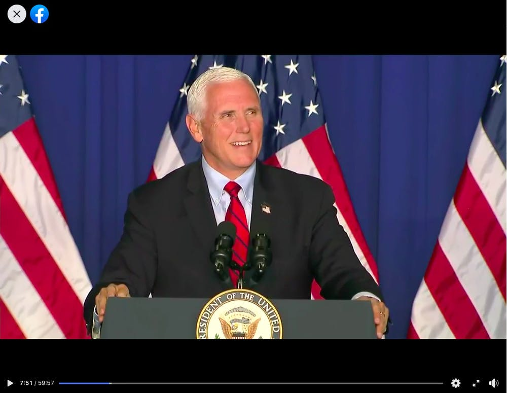 <p>Vice President Mike Pence speaks Thursday night during his &quot;Make America Great Again!&quot; rally in Fort Wayne, Indiana. </p>
