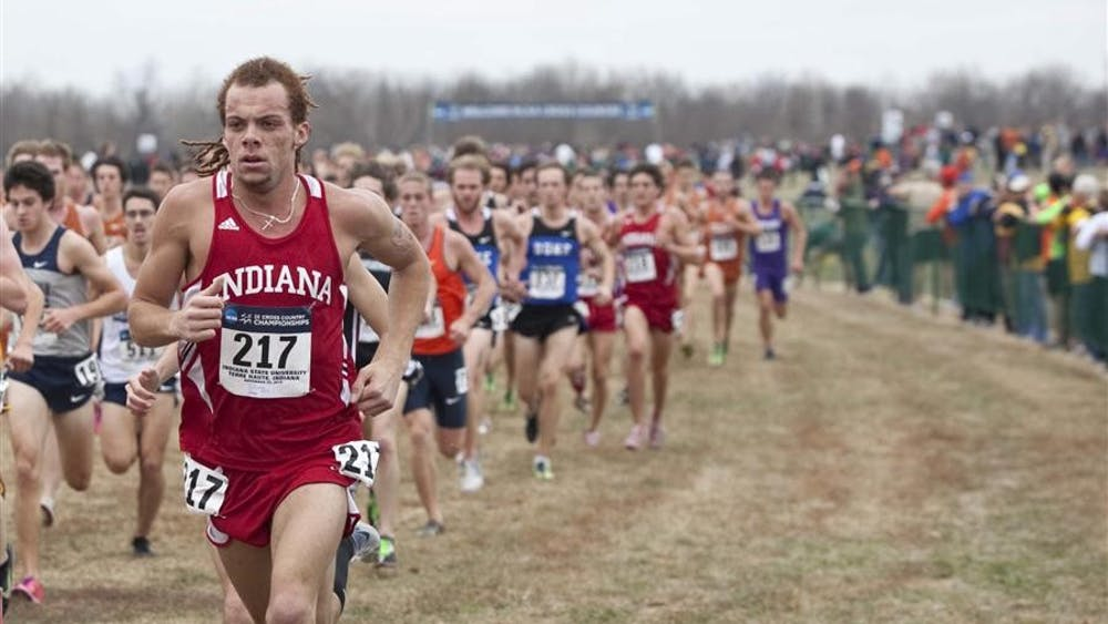Junior De'Sean Turner runs in the main pack at the beginning of the NCAA Cross Country Championships on Nov. 29, 2010.
