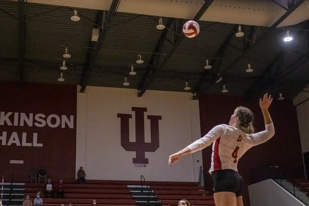 <p>Freshman outside hitter Mady Saris goes to spike the ball Sept. 24, 2021, at Wilkinson Hall. Indiana beat Michigan State 3-0. </p>
