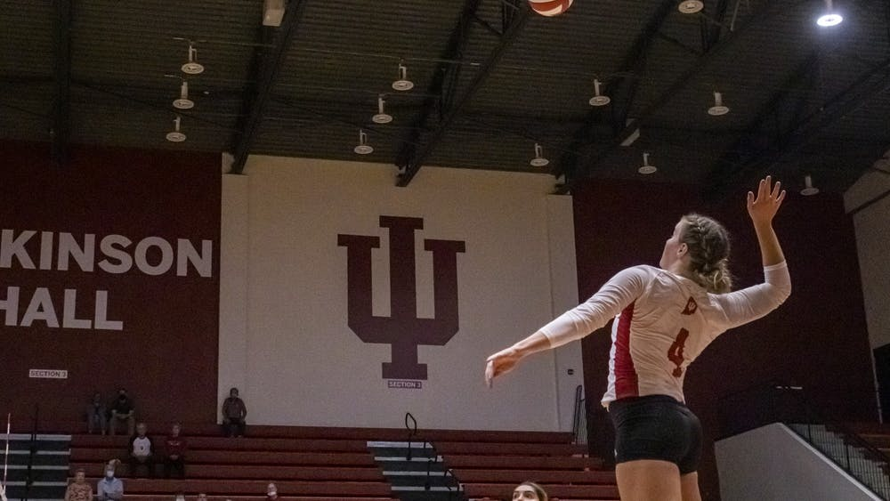 Freshman outside hitter Mady Saris goes to spike the ball Sept. 24, 2021, at Wilkinson Hall. Indiana beat Michigan State 3-0.