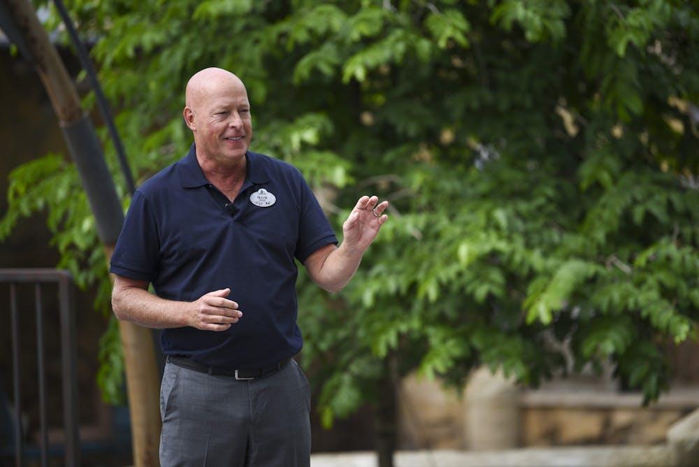 <p>IU alumnus and then-chairman of Disney parks Bob Chapek speaks Aug. 28, 2019, at the dedication ceremony for &quot;Star Wars: Galaxy&#x27;s Edge&quot; at Walt Disney World&#x27;s Hollywood Studios in Orlando, Florida. Chapek was named Feb. 25 Walt Disney Co. CEO, succeeding Bob Iger. </p>
