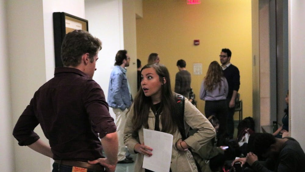Student actors prepare their monologues for the spring play auditions for IU Theatre on Jan. 7. The students only had 90 seconds to perform their monologues.